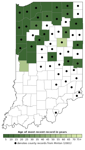 Distribution map of Northern Leopard Frog (Lithobates pipiens)