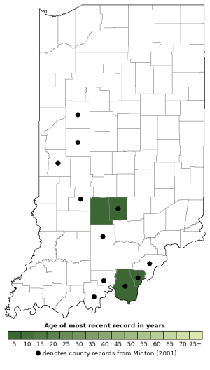 Distribution map of Smooth Earthsnake (Virginia valeriae)